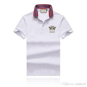 19SS Yaz erkek Giyim Tasarımcısı T-shirt Göğüs Arı Nakış Yaka Tasarımcı Polo erkek Kırmızı ve Mavi Çizgili Yaka Giymek