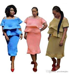 Kleider Mode Slash Neck Panelled drapierte Gestreifte Rüschen Womens Designer-Kleider Weibliche Kleidung Sexy Womens Casual