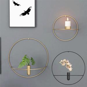3D geométrica montado en la pared Candle Holder Light Metal Decoración del hogar Candelabro de pared de metal de vela del sostenedor de regalos Inicio decoración de la pared