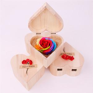8 en forma de corazón del día de la flor del jabón hecho a mano de madera de la mano ramo rectángulo de San Valentín día de la boda hecha de San Valentín Rose Jabón regalo T3I5612