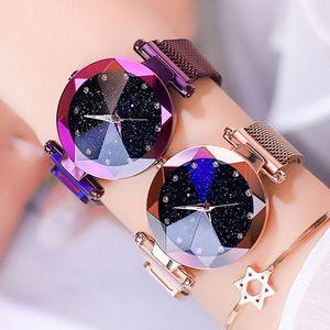 2019 Frauen-Uhren Starry Sky Fashion Diamant-Dame-Magnet Uhren Frauen-Quarz-Armbanduhr