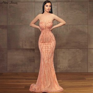 Formal Dress Luxury Heavy Beading Mermaid Evening Dresses 2020 Strapless Sweep Train Evening Party Gowns Customise