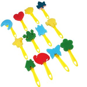 Child Paintings Sponge Brush 12-Piece Set Painting Tool Yellow Handle Kindergarten Diy Art Graffiti Smile More Color Save Effort 6pcC1