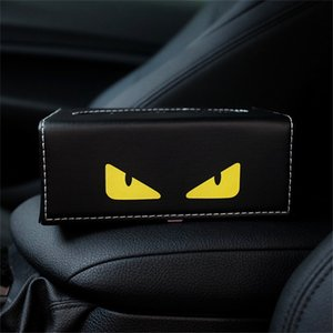 Wholesale-Rectangle PU Leather Tissue Box TV Remote Controller Holder Yellow Eyes Print Home Office Car Paper Towel Holder