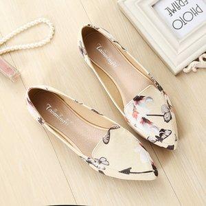 2019 Sapatos Flor Mulher Flats preguiçosos Pointed Toe Slides rasos deslizamento em sapatas Plus Size preto Apricot confortável Sandalias Mujer