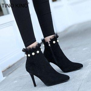 Tino Kino Kadınlar Sivri Burun İnci Fermuar Bilek Boots Dantel Pompası Seksi İnce Yüksek Topuklar Kadın Sonbahar Bayanlar Flock Şık Ayakkabı LY191224