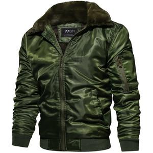 Nuovo rivestimento di autunno inverno degli uomini Tactical Pilot Bomber Uomini Warm colletto di pelliccia Size US Army Cappotti