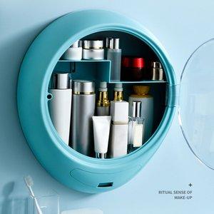 Wall Hanging Makeup Storage Box Drawer-type Bathroom Makeup Organizer ABS Plastic Transparent Dustproof Cosmetics Box