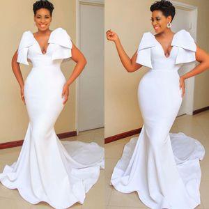 Sexy Deep V-neck Mermaid Wedding Dresses 2020 Plus Size Arabic Aso Ebi Cheap Bridal Dresses Satin Simple Wedding Gowns