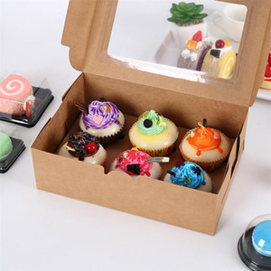 2020 Windowed Cupcake Boxes White Brown Kraft Paper Box Gift Packaging For Wedding Festival Party 6 Cup Cake Holders Customized