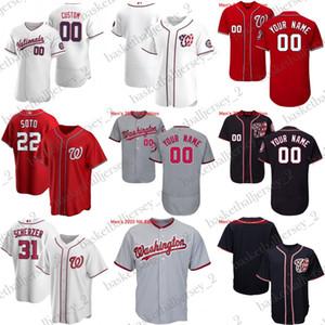 de Custom de Hommes Femmes baseball jeunesse Washington Juan Soto Max Scherzer Rendon Dozier Turner Kendrick Kiebooml 2020 maillot national