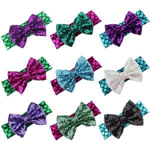 5 pulgadas bebé niñas diadema lentejuelas arco accesorios para el cabello moda sirena cintas para el pelo niños niños diadema sombreros para fiesta fiesta año nuevo