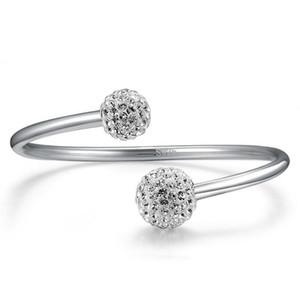 925 Sterlingsilber überzogen Armband-Armbänder Schmuck für Frauen ziemlich leuchtenden Kristallkugel Armband Armbänder Jahrgang offen Designer