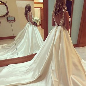 Elegant Glamorous Satin Wedding Dress Lace Long Bridal Dresses With Court Train Sexy Backless Ball Gowns Formal Party robe de mariee