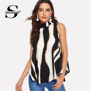 Sheinside Düğüm Geri Renk Blok Asimetrik Hem Kolsuz Yaz Bluz 2019 Standı Yaka Bayanlar Pileli Zarif Bluzlar Y19042902 Tops
