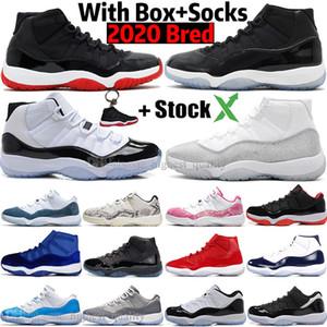 Com Box alta Hot Novas 2020 Bred 11 11s Concord 45 Space Jam Snakeskin Mens tênis de basquete Gama azuis Homens Desportos sapatilhas
