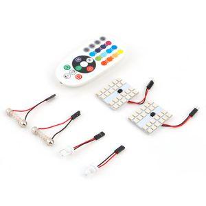 nuevoCar Styling RGB Colorido control inalámbrico 24 SMD 5050 LED Panel de luz Tablero Domo del coche Lámpara de lectura interior Hasta 50000 horas