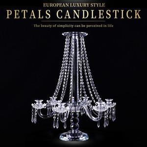 Chiaro 5-Arms cristallo portacandele pilastro candela decorazione Wedding stand Mariage Home Decor Candelabri per centro tavola