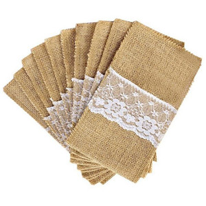 21*11cm Natural Jute Burlap Lace Cutlery Holders Packaging Fork and Knife Bag for Birthday Wedding Party Decoration