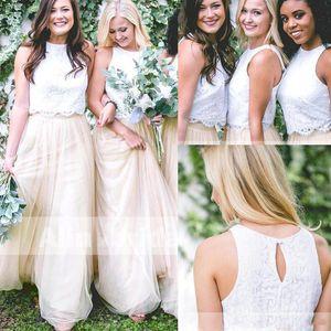 2020 Two Pieces Vestidos dama de honra barato Lace Top Tulle Skirt Prom vestido de noite formal elegante vestido de noite BM0169