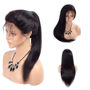 Natural Black Long Straight Lace Front Wigs with Baby Hair Heat Resistant Glueless Synthetic lace front wigs for Black Women