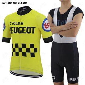 반바지 자전거 경주 옷 턱받이 클래식 프로 팀 사이클 의류 세트 남성 여름 레트로 노란색 도로 사이클링 저지 검은 색 복고풍