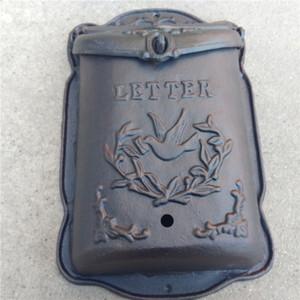 Buzón de hierro fundido Pesado Pájaros Animal Cartas de hierro forjado Buzón para periódicos Montado en la pared Jardín al aire libre Decoración Hogar Vintage