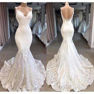2020 de encaje de tul sirena elegante de la boda de Marfil correas profundo cuello en V vestidos de encaje de la boda del verano de la playa completa Vestidos de novia Vestidos de boda