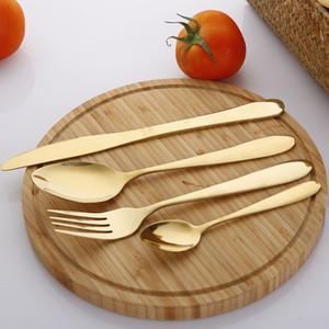 4PCS / مجموعة الذهب السكاكين سكين أطباق مجموعة الفولاذ المقاوم للصدأ أدوات المائدة الغربية أواني شوكة ملعقة ستيك السفر عشاء مجموعة VT1534
