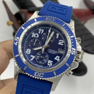 블루 다이얼 Superocean 현대 다이버 스포츠 남성 시계 석영 크로노 그래프 크로노 미터 발광 품질 남성 시계 아날로그 고무 손목 시계