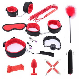 Handcuffs Bdsm Sex Bondage Set Erotic Toys for Adults Bdsm Toys Anal Plug Whip Gag Nipple Clamps Games for Adults Sex Toys Y200422