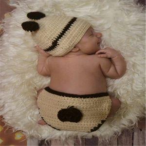 Newborn Photography Props Baby Hand Knit Bonnet Newborn Baby Girls Boys Crochet Knit Baby Hat Costume Photography Prop