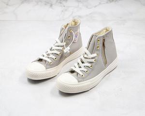 1970 Смотреть Chunk Taylor дизайнер обуви Осака Любовь Zipper 70S High Top Холст обувь Side Zipper Taro Фиолетовый Серый Белый 1970-е годы Повседневная обувь