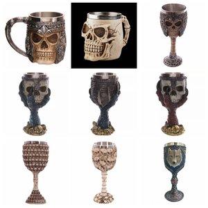 17styles Skull Head Goblet 3D Skull Skeleton Cup Taza de cráneo de acero inoxidable Cervezas de Halloween Rider Copas de vino GGA2413