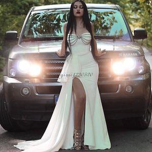 Últimas Ivory Sereia Prom Dresses Sweet Heart Side Dividir Ruffles Trem da varredura Beads Longo Formal ocasião Evening Partido Vestidos Especial Vestido