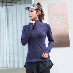 Sonbahar Kış Kadın Spor Ceketler Gym Fitness Giyim Yoga Coat Fermuar Koşu Ceket İnce Sportwear Nefes Bisiklet Tops