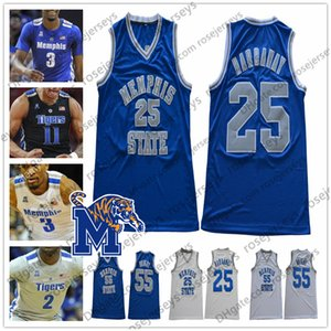 NCAA Memphis Tigers # 23 Derrick Rose 25 Penny Hardaway 55 Lorenzen Wright 10 Damion Baugh Malcolm Dandridge Blue Retro Basketball Jersey