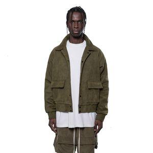 Arnodefrance High Street İşleme Ceketler Coat Ter Düğme Ceket Casual Kaykay Kalça Dış Giyim Yeşil Ordu Erkek Kadın Çift HFHLJK065 Hop