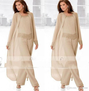 Guest Dress 2019 Champagne Three Piece Mother of the Bride Pant Suits with Long Jackets Long Sleeves Beaded Chiffon Mother Plus Size Wedding