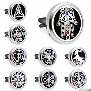 Car Essential Oil Diffuser Aromatherapy 30 mm Stainless Steel car vent clip diffuser Locket Vent Clip Air Freshener with 10PCS Washable Felt