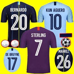 de la ciudad de Manchester city man city 2019 con calidad de Tailandia MAHREZ jersey de fútbol 2019 Camiseta de BERNARDO SANE de STERLING 18 19 KIT de fútbol Camiseta de fútbol
