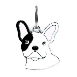 50 unids esmalte BULLDOG FRANCÉS colgantes de perro cuelgan los encantos con los anillos abiertos del salto aptos para DIY llavero llaveros collar de mascotas fabricación de joyas