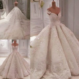 Gorgeous Ball Gown Wedding Dresses 2020 Off The Shoulder Sequins Beads lace Wedding Dress Chapel Train Sheer Back Sexy Luxury Bridal Gowns