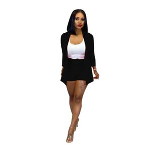 Womens OL Patchwork 2pcs Suits Woman Solid Color Boyfriend Sytle Lapel Neck Blazer Jacket With Shorts Casual Sets Women Work Clothes