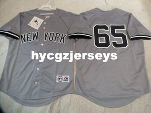 baseball barato NY Phil Hughes # 65 camisa SEWN Jersey GRAY New Mens costurados camisas grandes e tamanho Alto XS-6XL Venda
