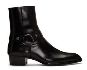 Homem Slp preto couro genuíno Wyatt Harness Botas de bezerro Harness de estilo Botas Ocidente tira no tornozelo Stacked couro salto cubano Shoes