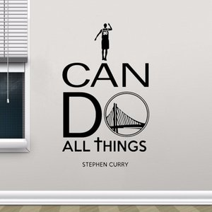 I Can Do All Things Wall Decal Sign Stephen Curry Quote Vinyl Sticker Basketball Poster Gym Sport Motivational Wall Decor