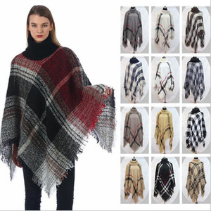 Плед пончо Девочка Check Vintage Cape шарф Wrap Мода Knit кашемир шарфы Lady Winter шаль Кардиган Одеяло Плащ пальто свитер C6125