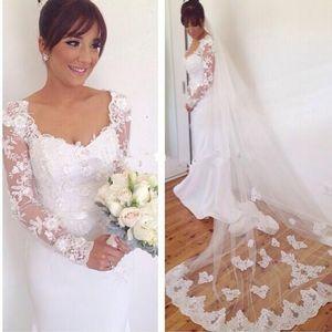 Bianco Avorio Mermaid Abiti da sposa 2019 Elegante maniche lunghe nuziale Gowns Abiti da sposa Online Shop China