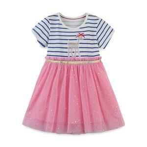 Kızlar Karikatür Prenses Çizgili Elbise Çocuk Yaz Pamuk Kısa Sleeve Nokta Elmas Parlayan Gazlı bez TUTU Etek T Etek Tek parça elbiseler CZ229